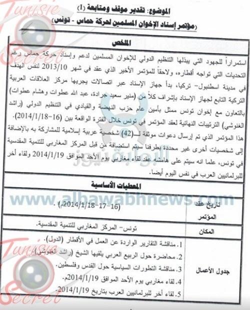 Preuves et listes des participants au congrès des Frères musulmans à Tunis.