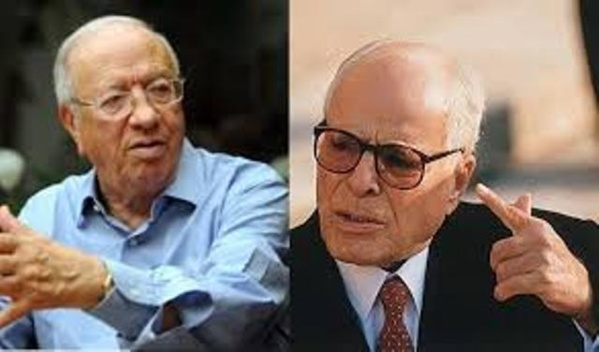 Habib Bourguiba et Béji Caïd Essebsi, l'original et la copie.