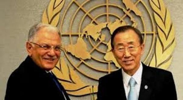 Kamel Morjane avec le secrétaire général de l'ONU, Ban Ki-Moon.