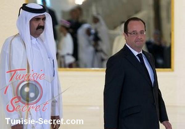 L'émir déchu du Qatar avec François Hollande.