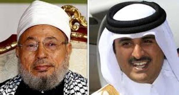 A gauche, Youssef Qaradaoui, grand Mufti de l'OTAN et guide suprême de l'islamo-terrorisme dans le monde. A droite, Tamim Ben Hamad, fils de Moza Bint Nasser al-Missned et roitelet de l'émirat voyou du Qatar.