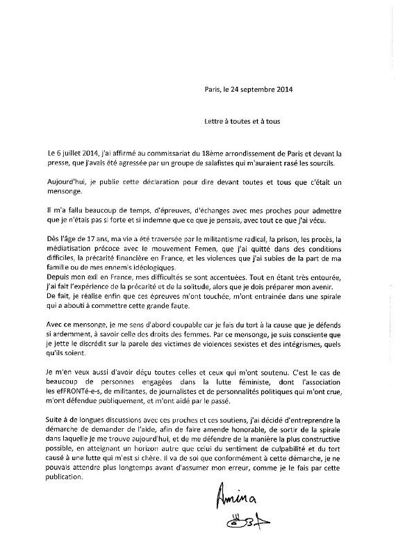 Original de la lettre d'Amina Sboui au quotidien Libération.