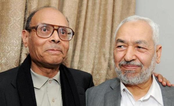 """Rached Ghannouchi et son caniche """"laïc"""", Moncef Marzouki."""