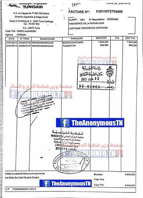Document révélé par Anonymous sur les voyages de Mabrouka Mbarek aux frais de la Présidence tunisienne.