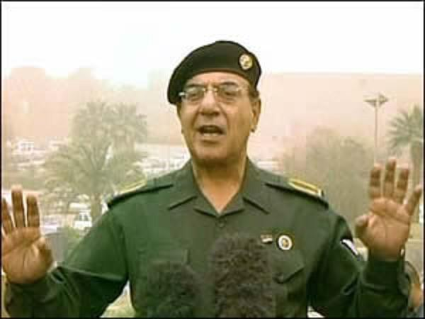 Mohamed-Saïd Al-Sahhaf, ministre irakien de l'Information au moment de la croisade americano-britannique contre l'Irak.