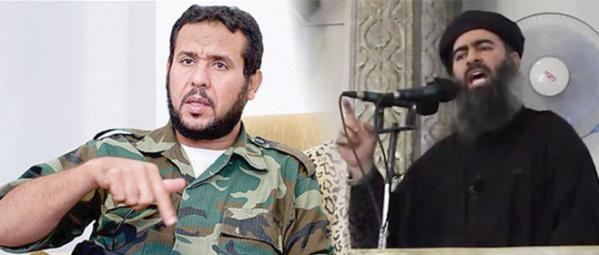 Abdelhakim Belhadj, chef de Daech au Maghreb, et Ibrahim Awad Ibrahim Ali al-Badri, alias Abou Bakr al-Baghdadi, mercenaire du Qatar et de la Turquie et calife autoproclamé d'Irak et de Syrie.