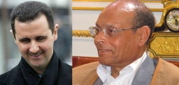 Le chef d'Etat syrien Bachar Al-Assad et le saligaud tunisien Moncef Marzouki.