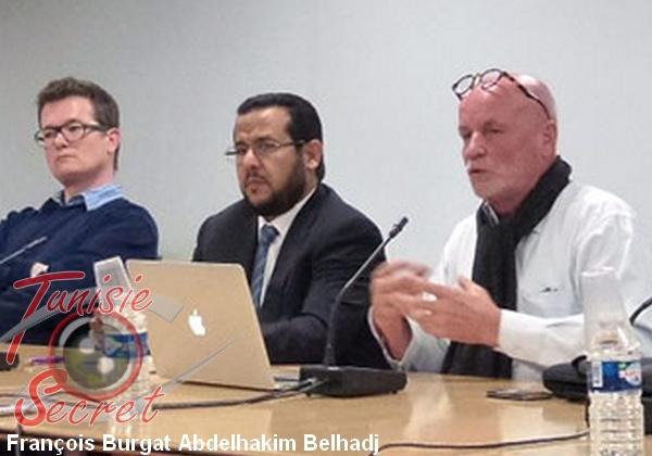 François Burgat présentant le livre d'Isabelle Mandraud sur le terroriste libyen Abdelhakim Belhadj.