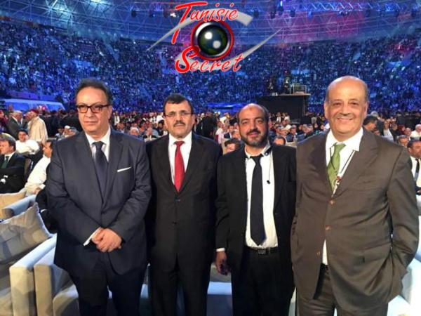 De gauche à droite, Hafedh Caïd Essebsi, Ali Larayedh, Manar Skandrani et Abderraouf Khammassi. Il ne manquait à la photo que le grand filou Chafik Jarraya !