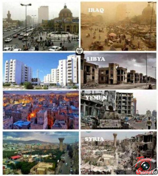 Bien mieux que cent livres, cette image exprime les objectifs du printemps arabe et résume ses conséquences.