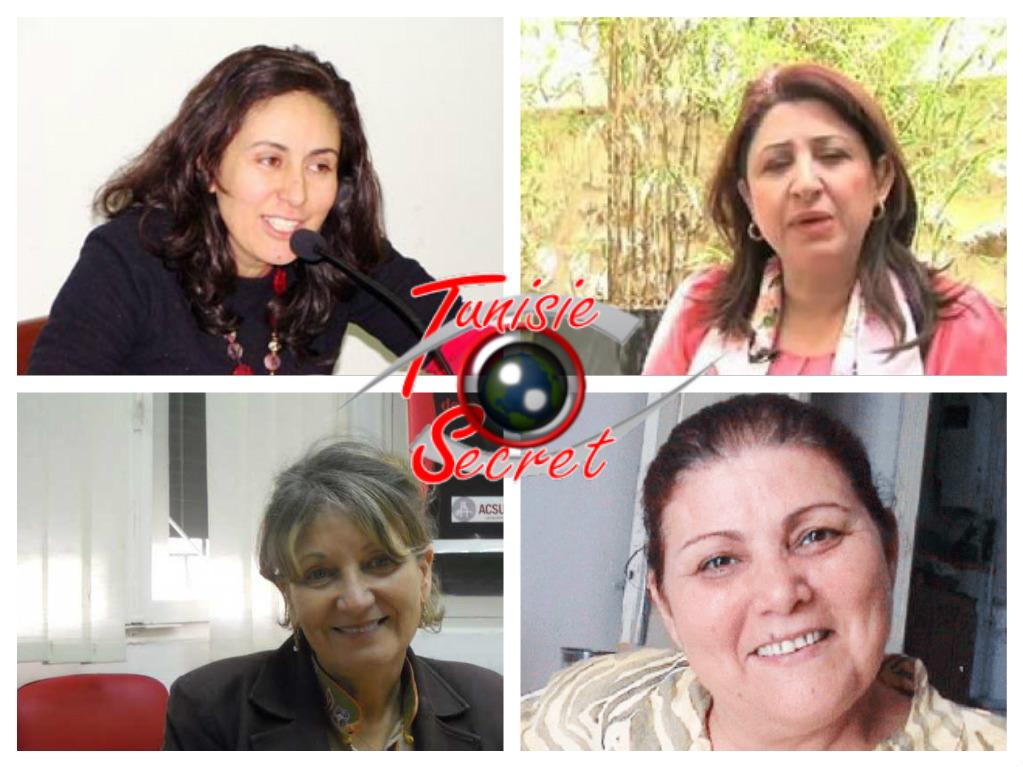 De haut en bas et de gauche à droite, Olfa Youssef, Hajer Ben Cheikh Ahmed, Sana Ben Achour et Naziha Rejiba.