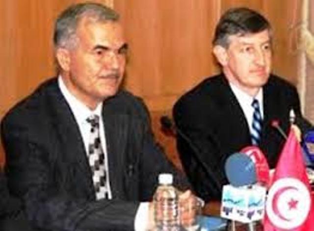 Moncef Ben Salem, l'islamo-terroriste devenu ministre, en compagnie du Proconsul des USA en Tunisie, Jacob Walles.