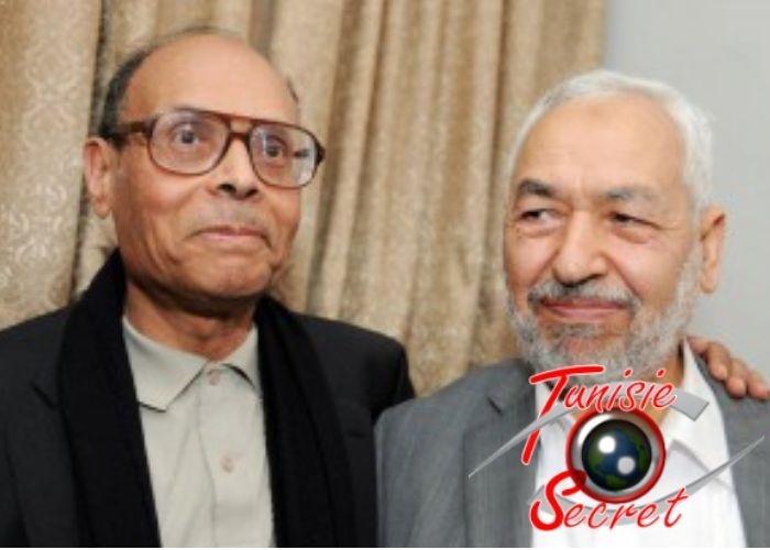 Le président intérimaire qui doit sa nomination au chef local des Frères musulmans. Deux mercenaires du Qatar qui ont ruiné la Tunisie.