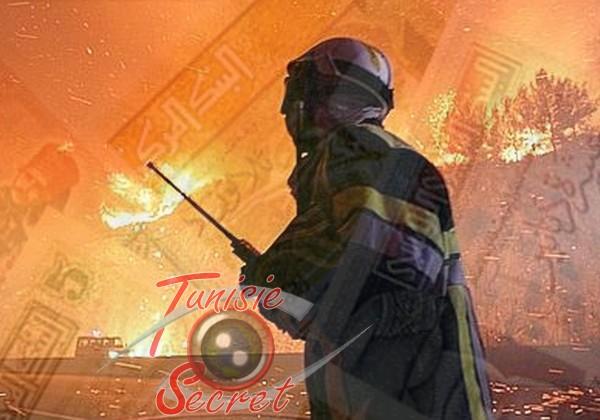 Un pompier tunisien luttant désespérément contre les flammes qui dévastent Ennahli, le poumon de la capitale.