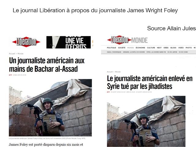 """La une du premierjournal atlantiste après Le Monde. Dès son kidnapping par les islamo-terroristes, en novembre 2012, Libération accusait Bachar Al-Assad. Aujourd'hui, le même quotidien de """"gauche"""" attribue la décapitation de James Foley aux djihadistes !"""