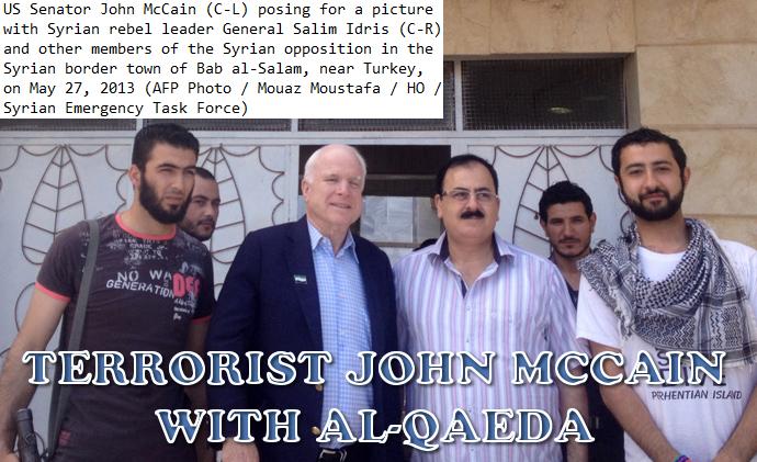 John McCain avec ses mercenaires terroristes Syriens.