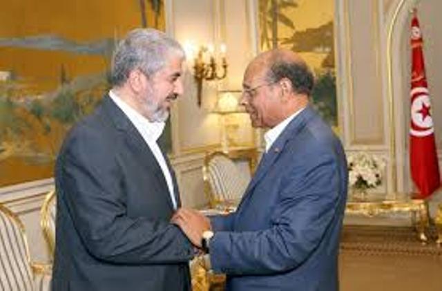 """Khaled Mechâal, la prostituée du Qatar et de l'Iran, avec Moncef Marzouki la streptiseuse des droits de l'homme et de l'islamisme """"modéré""""."""
