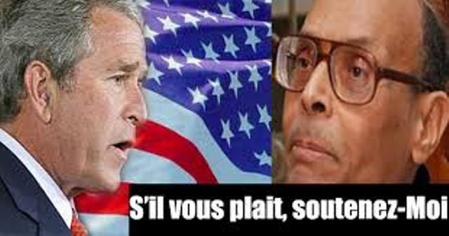 """Moncef Marzouki et le criminel de guerre George W.Bush, auquel l'imposteur des droits de l'homme écrivait autrefois pour le supplier de """"punir"""" Ben Ali. photo prise du blog de Sami Ben Abdallah."""