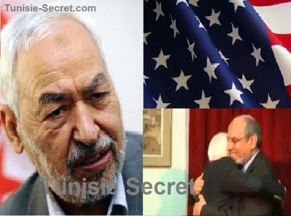 """A gauche, """"cheikh"""" Rached Ghannouchi, et à droite Hamadi Jebali dans les bras de son """"frère"""" Joe McCain."""