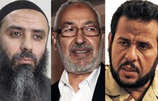 Seifallah Ben Hassine, Rached Ghannouchi, Abdelhakim Belhadj, trois représentants de l'internationale islamo-terroriste.