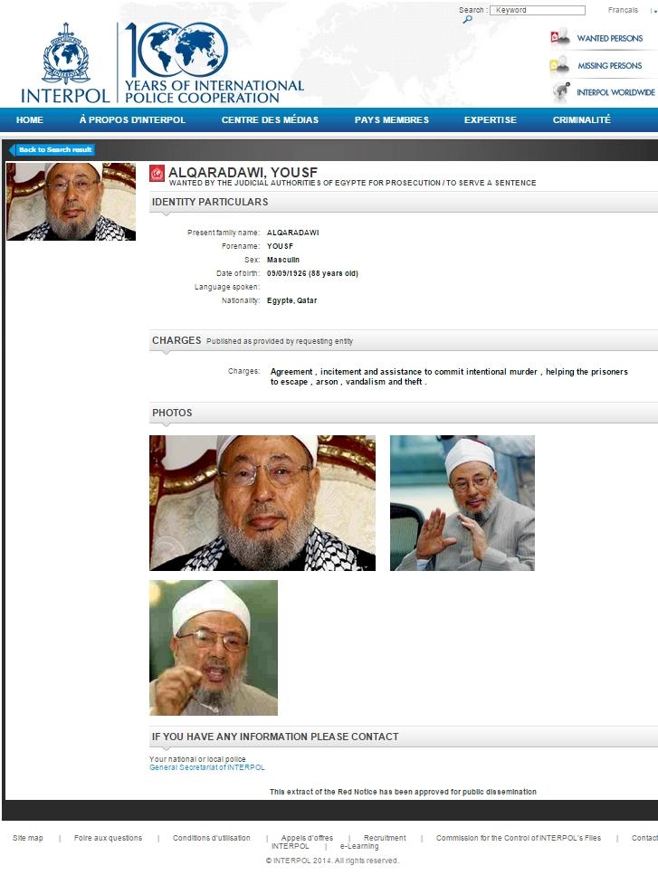 Le mufti de l'OTAN, Youssef Qaradaoui recherché par Interpol