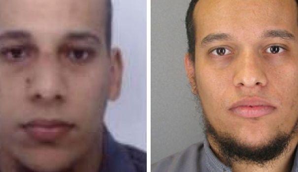 Les deux terroristes islamistes qui sont les auteurs du carnage de Charlie Hebdo. A gauche, Cherif Kouachi, à droite son frère Saïd Kouachi.