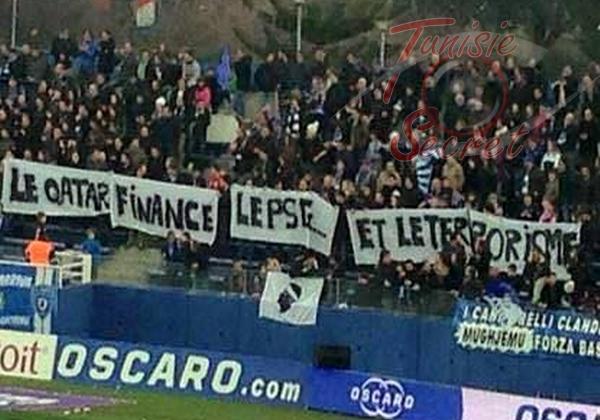 «Le Qatar finance le PSG... et le terrorisme», affichent les supporters de Bastia