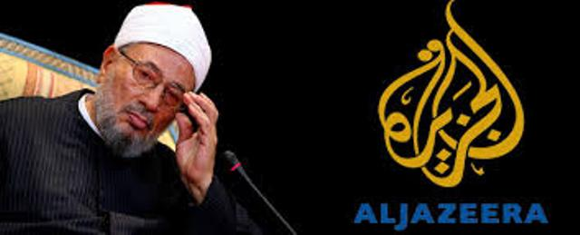 """Youssef Qaradaoui, le grans mufti de l'OTAN qui a été fabriqué par la voix des Frères musulmans et la scénariste du """"printemps arabe"""": Al-Jazeera."""