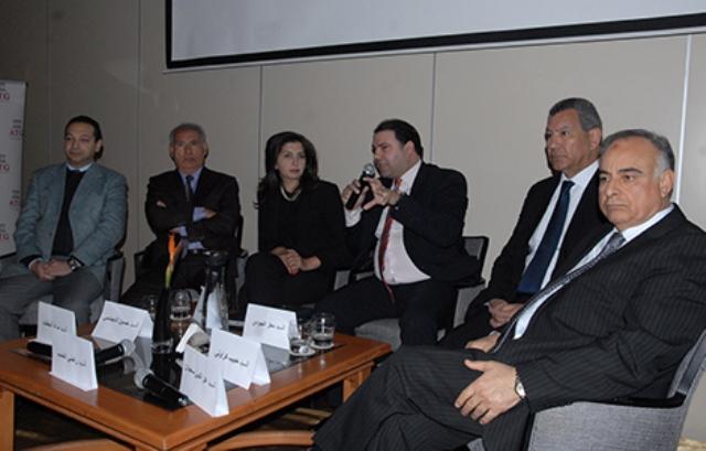 Mourad Hattab, Houcine Dimassi, Moez Joudi, Habi Karaouli, Ezzeddine Saïdane, lors de la réunion aux Berges du Lace de l'Association tunisienne de gouvernance (ATG).