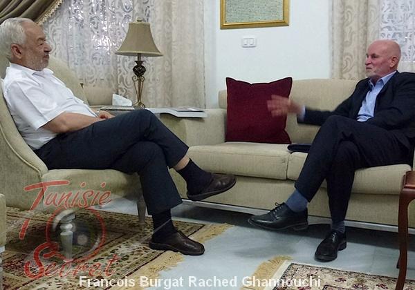 """Le Frère musulman Rached Ghannouchi avec le """"frère"""" François Burgat."""