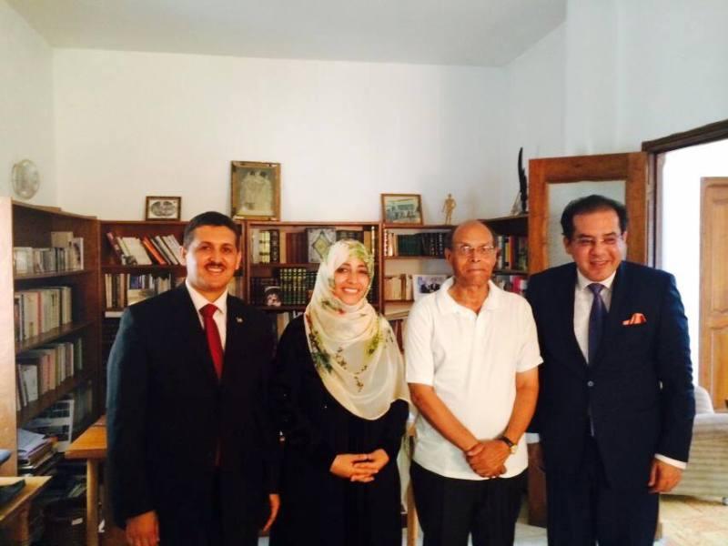 De gauche à droite, Imed Daïmi, Tawakkol Karman, Moncef Marzouki et Ayman Nour, à Istanbul le 16 septembre 2015, chez le grand Vizir des Frères musulman, Erdogan.