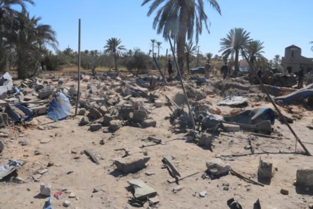 Sabrata, ce qui reste de la maison de deux étages où se réunissaient cinquante terroristes Tunisiens venus de Remada dans le sud de Tunisie.