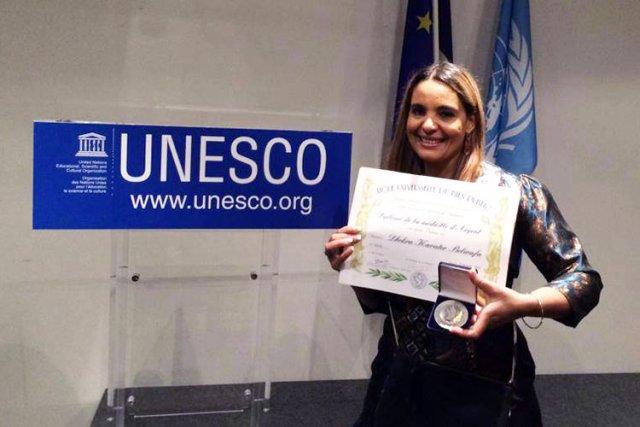 Belwafa Dekhra au siège de l'UNESCO à Paris, en 2014.