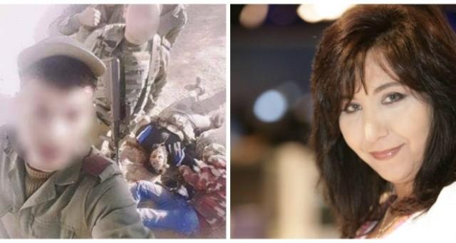 A gauche nos vaillants soldats, à gauche Fatma Triki, la journaleuse d'Al-Jazeera, la TV de propagande islamiste et terroriste.