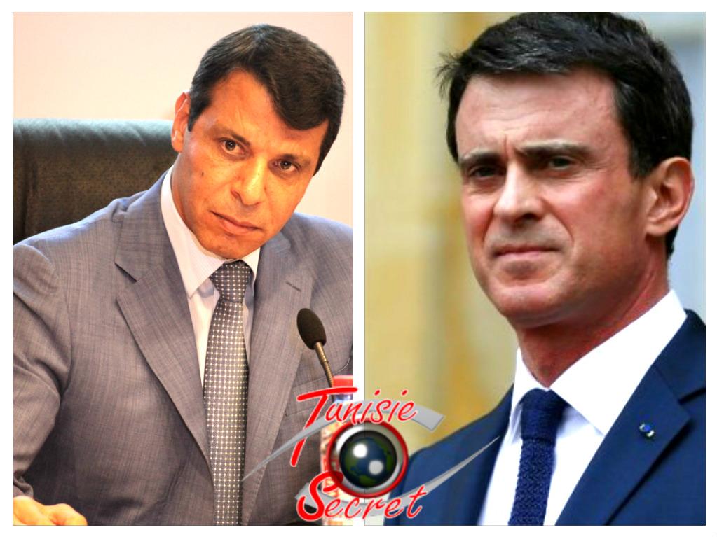 Le leader palestinien Mohammed Dahlan à gauche et le Premier-ministre français Manuel Valls à droite, dans le sens géométrique du terme !.