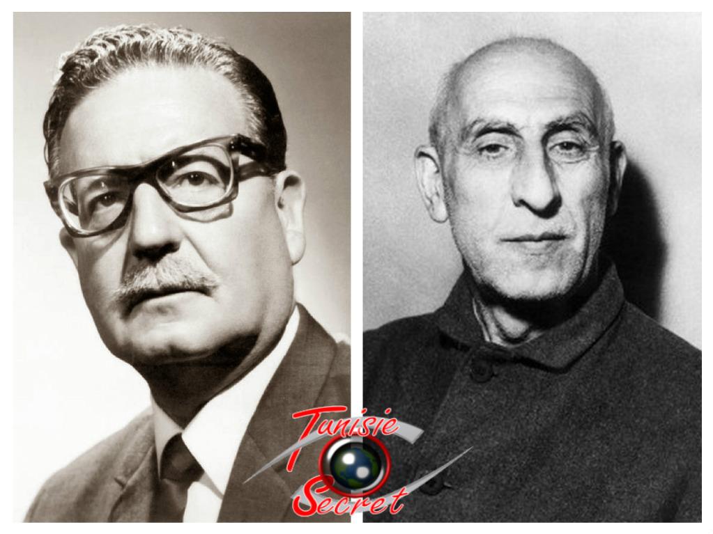 """A gauche, le Président chilien Salvador Allende tué le 11 septembre 1973 à la suite du coup d'Etat américain. A droite, le Premier-Ministre iranien Mohammed Mossadegh, destitué en 1953 à la suite de l'opération anglo-américaine """"Ajax""""."""