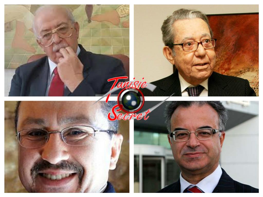 En haut de gauche à droite, Chedly Ayari et Mansour Moalla. En bas de gauche à droite, Salim Ben Hamidane et Slim Chaker.