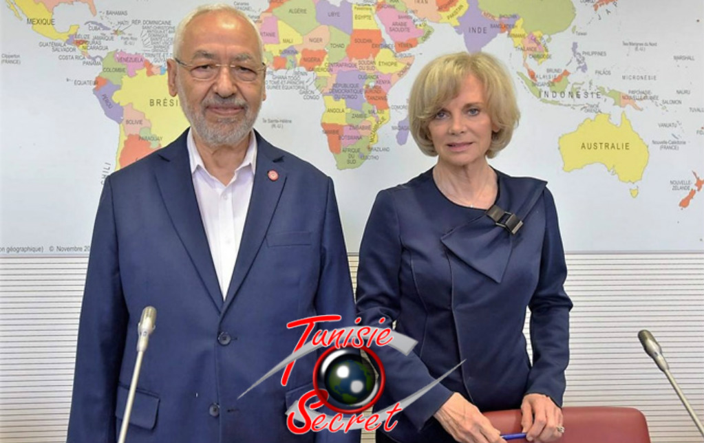 Rached Ghannouchi avec Elisabeth Guigou.