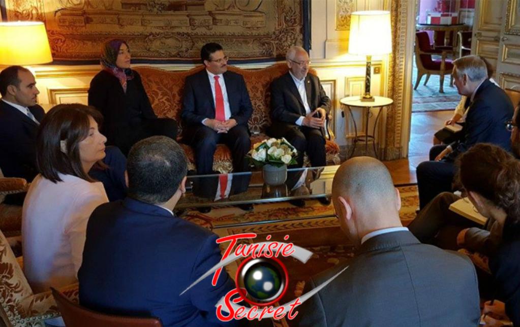 Rached Ghannouchi et sa délégation, reçu au Quai d'Orsay par Jean-Marc Ayrault.
