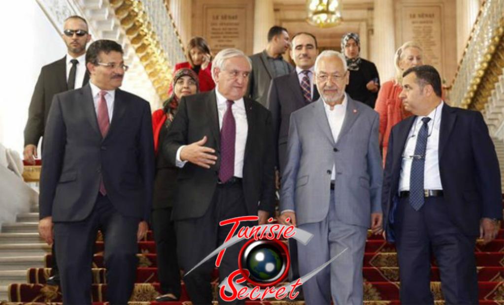 Jean-Pierre Raffarin, recevant au Sénat le chef des Frères musulmans Tunisiens.