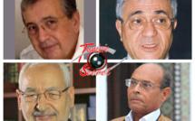 De gauche à droite, Kamel Hadj Sassi, Tijani Haddad. En bas, Rached Ghannouchi et Moncef Marzouki.